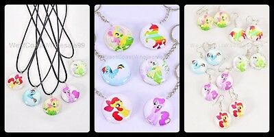 17 PC My Little Pony Double Sided Glass Wholesale Lot Necklace/Earring/Keychain