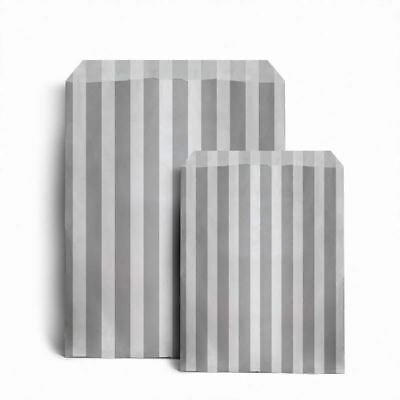 "Grey Candy Stripe Paper Bags (5"" x 7"") pack 100"