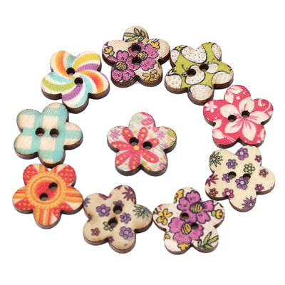50x Wood Sewing Buttons Scrapbooking Pattern Floral Plum Mixed 1.8cm 2 Holes
