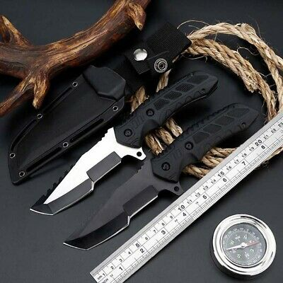 "8"" Fixed Blade Knife Tactical Pocket Tanto Camping Hunting EDC With Sheath"