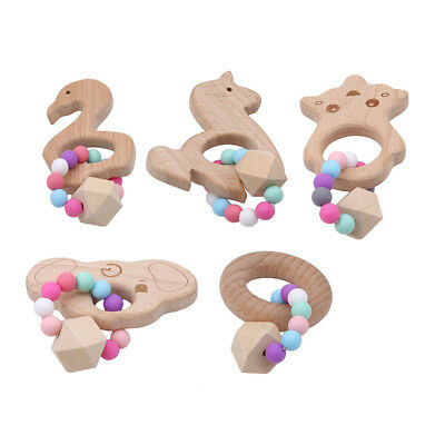 Safe Wooden Teether Baby Chew Teething Bracelet Beads Sound Kids Toy Infant Gift