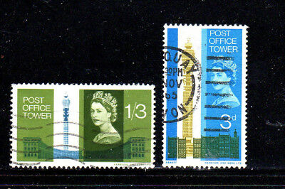 GREAT BRITAIN #438-439  1965 OPENING OF THE POST OFFFICE TOWER  F-VF  USED  a
