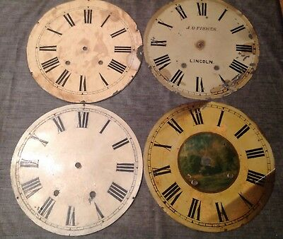 """Antique Wall Clock Dial Collection 12"""" One With Makers Mark J D Fisher Lincoln"""