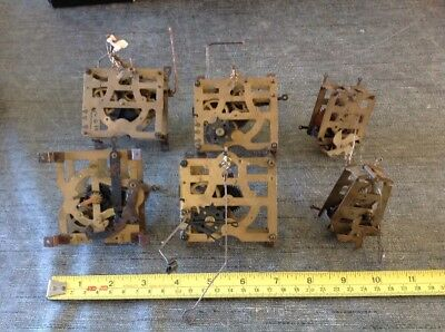 Antique Cuckoo Clock Movements 6 For Restoration From Clockmakers Spare Parts