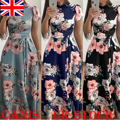 UK Women Long Floral Casual Dress Ladies Short Sleeve Cocktail Party Maxi Dress