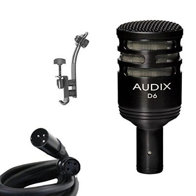 Audix*D6+DRUM RIM CLIP*Microphone Instrument Mic Bundle + XLR Cable FREE2DAY...