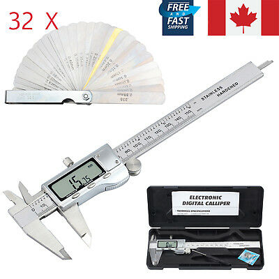 MM Inch Electronic Digital Vernier Caliper + 32X Feeler Gauge Measuring Tool CA