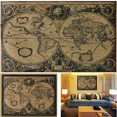 Vintage Retro Poster Globe Old World Nautical Map Gifts Home Art Decoration New