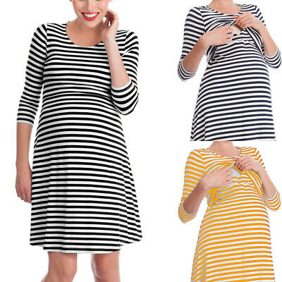 Pregnant Women Striped Maternity Breastfeeding 3/4 Sleeve Sleepwear Dress Superb