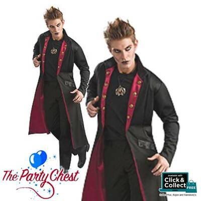 ADULT DELUXE VAMPIRE COAT Dracula Halloween Fancy Dress Costume Long Coat 89360