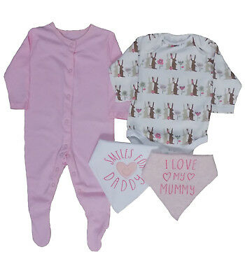 Baby Girls Bundle Of Sleep Suit, Body Suit And Two Bibs Gift Idea Set Child