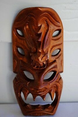 WOOD CARVING SOUVENIR SCARY UGLY FACE MASK PACIFIC ISLANDER 16 x 8cm