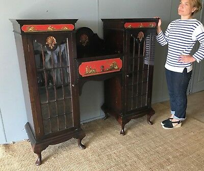 Large Antique Art Deco Oriental Chinoiserie Lacquer Display Case Drinks Cabinet
