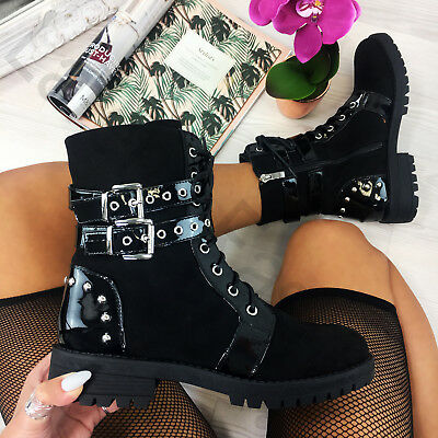 New Womens Biker Ankle Boots Zip Lace Up Low Heel Buckle Studs Military Shoes