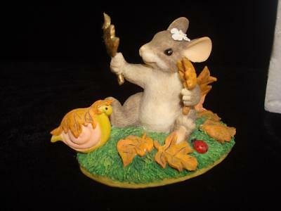 Darling~1997~Charming Tails~Maxine's Leaf Collection~Mouse Figurine~w/Box