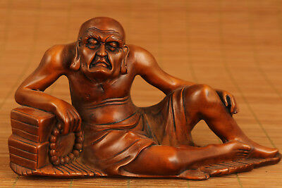 Antique Japan old Big Boxwood Hand Carved Buddha Arhat Statue Netsule