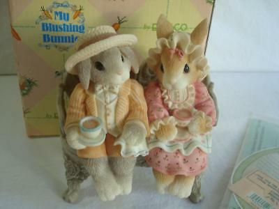 1998~Enesco~My Blushing Bunnies~Hardy Blossom~Tea For You And Me For You~#351105