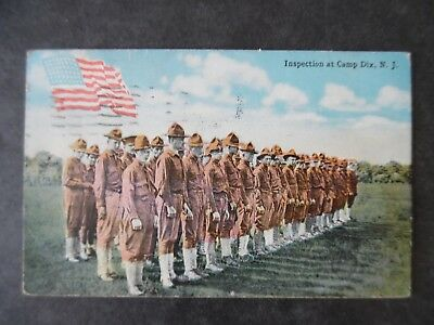 1918 Camp Dix New Jersey Inspection Soldiers WWI Postcard & Cancel