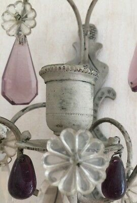 Stunning shabby chic pair vintage French wall lights sconces & glass crystals
