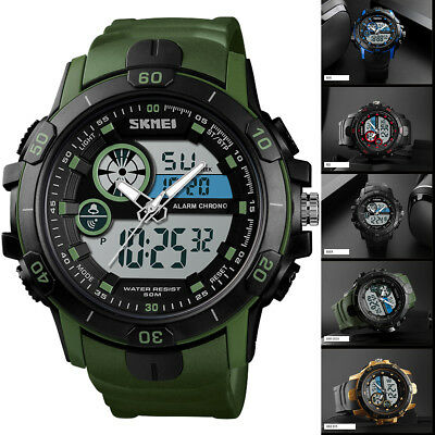 SKMEI Men's Waterproof Sport Army Alarm Date Analog Military Digital Wrist Watch