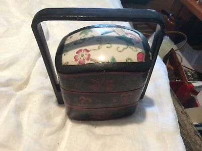 Vintage Laquered Porcelain Top Tea Caddy