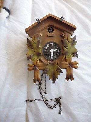Black Forest Carved Wooden Cuckoo Clock Spares Or Repair Collectable