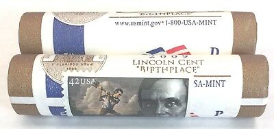 2009-P&d Lincoln Cent Log Cabin Birthplace U.s.mint Wrapped Roll Set