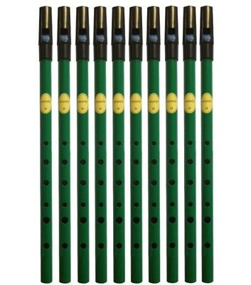 Brass D - Feadog Irish Tin Whistle - Green (Box of 10)