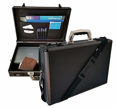New Hard Aluminium Briefcase Executive Laptop Bag Travel Flight Pilot Carry Case