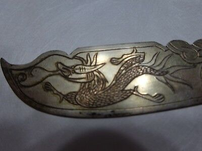 Antique Vintage Chinese Carved  Fire Breathing Dragon Knife Marked Silver Metal