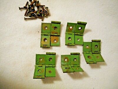 5 Old Green Metal Hinges with Screws-Primitive Chippy Green Paint Hinges-CRAFTY