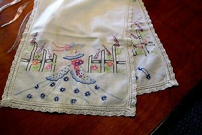 "Vintage 33"" x 13"" CRINOLINE LADIES Hand Embroidered Table Runner Cloth"