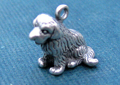 Newfoundland Dog Charm Sterling Silver 3D Vintage Big Puppy @*