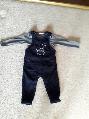 Next Navy Blue Dungarees With Matching Long Sleeve Top 12-18 months