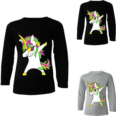 Girls Unicorn Top Kids Long Sleeve Black Grey T shirt Jumper Ages 2 - 13 Years .