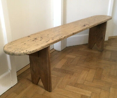 Unusual Antique Old French Rustic Farmhouse Wooden Bench Maple and Oak