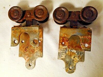 2 Antique Barn Sliding Rollers-RUSTY AND PRIMITIVE-Antique Door Sliders