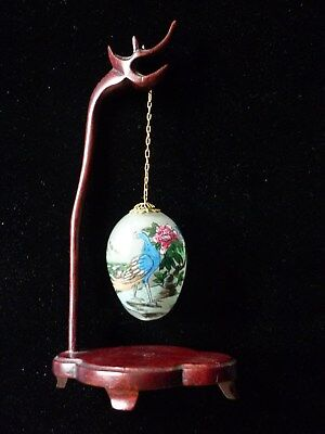 Vintage Chinese Hand Blown Reverse Hand Painted Hanging Glass Egg With Stand