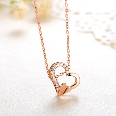"""18k Rose Gold Over 0.08ct Round Cut Diamond Heart Pendant 18"""" Chain Necklace"""