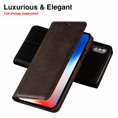 For iPhone XS MAX XR 8 Slim Case 100% Authentic Musubo Leather Wallet Flip Cover
