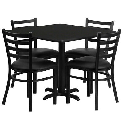 "Set of 10 36"" Square Restaurant/Cafe/Bar Table Set With 4 Metal Chair/Vinyl Seat"