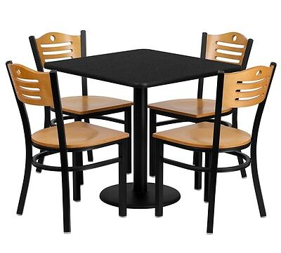 "30"" Square Restaurant/Cafe/Bar Black Table and Wood Chair Set"