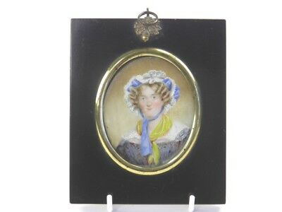 Antique 19th century portrait miniature oil painting of a lady by F Moore