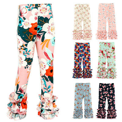 Floral Icing Ruffle Long Pants Boutique Leggings for Toddler Baby Girl Bottoms