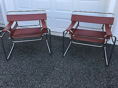 PAIR MID CENTURY MODERN WASSILY MARCEL BRUER Style Chairs Vintage Pick Up Only
