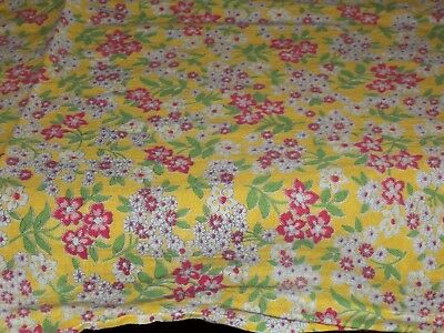Vintage YELLOW Feed Sack Feedbag Quilt Fabric Pinkish Small Flowers Floral Print