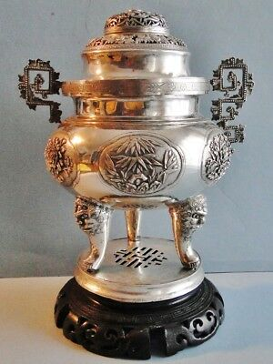 Lg Superb Quality Chinese Export Solid Silver Incense Burner Ornate Qing 1850