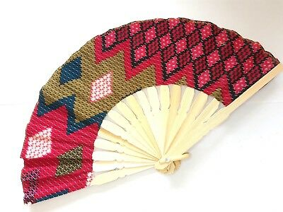 Traditional Batik Print Bamboo Hand Folding Hand Fan Small Malaysia Va139S-5