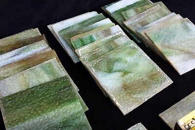 30 pcs. Antique Green and White Slag Glass with texture panels, tiles, window