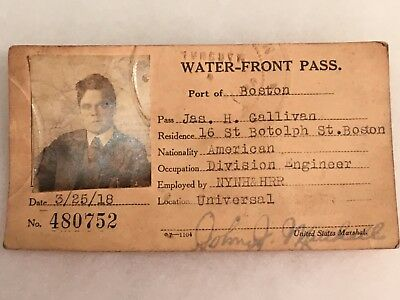 1918 Water Front Work Pass Boston Harbor NYNH&H RR signed by U.S. Marshall